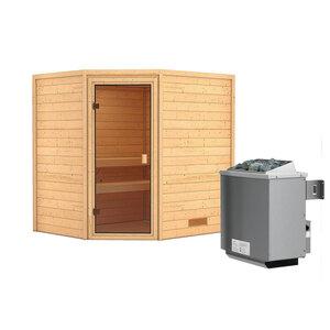 """Karibu              Sauna """"Mia"""", Eckeinstieg , 9 kW Ofen integr. Strg., kein Kranz, bronzierte Glastür"""