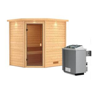 """Karibu              Sauna """"Mia"""", Eckeinstieg , 9 kW Ofen integr. Strg., mit Kranz, bronzierte Glastür"""