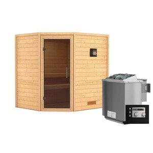"""Karibu              Sauna """"Mia"""", Eckeinstieg , 9 kW Bio Ofen externe Strg. modern, kein Kranz, graphitfarbene Tür"""