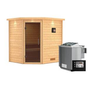 """Karibu              Sauna """"Mia"""", Eckeinstieg , 9 kW Bio Ofen externe Strg. modern, mit Kranz, graphitfarbene Tür"""