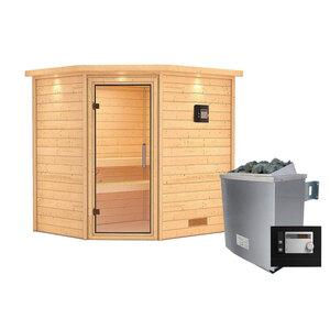 """Karibu              Sauna """"Mia"""", Eckeinstieg , 9 kW Ofen externe Strg. modern, mit Kranz, Klarglas-Tür"""