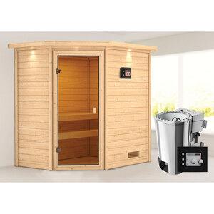 """Karibu              Sauna """"Jella"""", 3,6 kW mit Kranz, naturbelassen, Bio externe Steuerung"""