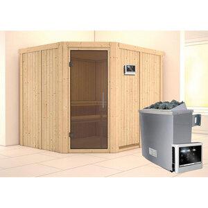 """Karibu              Sauna """"Malin"""" Eckeinstieg, 9 kW externe Strg. modern, Tür graphit, ohne Kranz"""