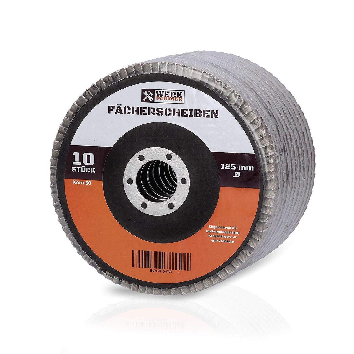 Bild 1 von Werk-Partner Premium Schleifscheiben Set - 10 x Fächerscheibe 125 mm Ø - Körnung 60 für Metall, Stahl & Holz - Fächerschleifscheibe für Winkelschleifer/Flex