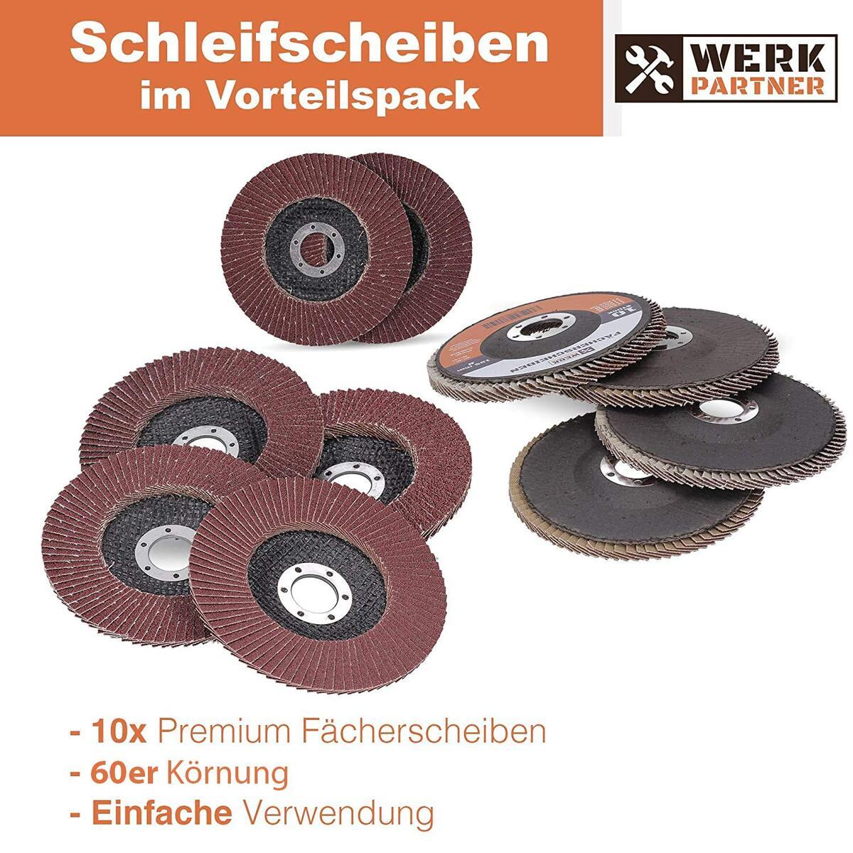 Bild 2 von Werk-Partner Premium Schleifscheiben Set - 10 x Fächerscheibe 125 mm Ø - Körnung 60 für Metall, Stahl & Holz - Fächerschleifscheibe für Winkelschleifer/Flex