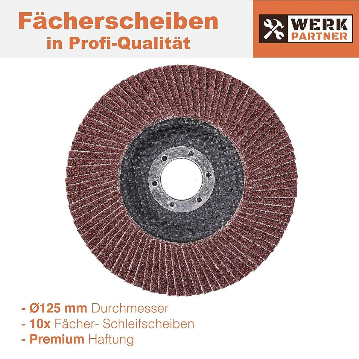 Bild 3 von Werk-Partner Premium Schleifscheiben Set - 10 x Fächerscheibe 125 mm Ø - Körnung 60 für Metall, Stahl & Holz - Fächerschleifscheibe für Winkelschleifer/Flex