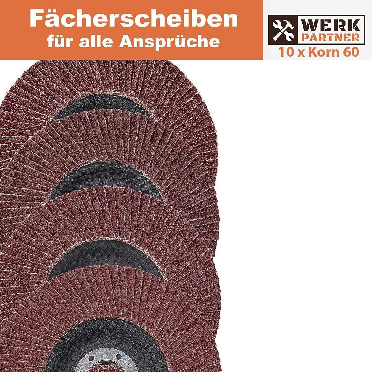 Bild 4 von Werk-Partner Premium Schleifscheiben Set - 10 x Fächerscheibe 125 mm Ø - Körnung 60 für Metall, Stahl & Holz - Fächerschleifscheibe für Winkelschleifer/Flex