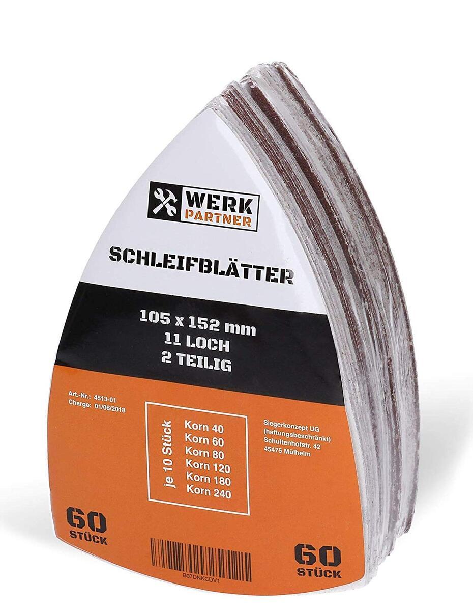 Bild 1 von Werk-Partner Dreieck Schleifscheiben 105x152mm - 60er Set Deltaschleifer Schleifpapier Klett für Holz, Kunststoff, Gips - je 10 x Körnung 40/60/80/120/180/240 für Deltaschleifer & Multischleifer