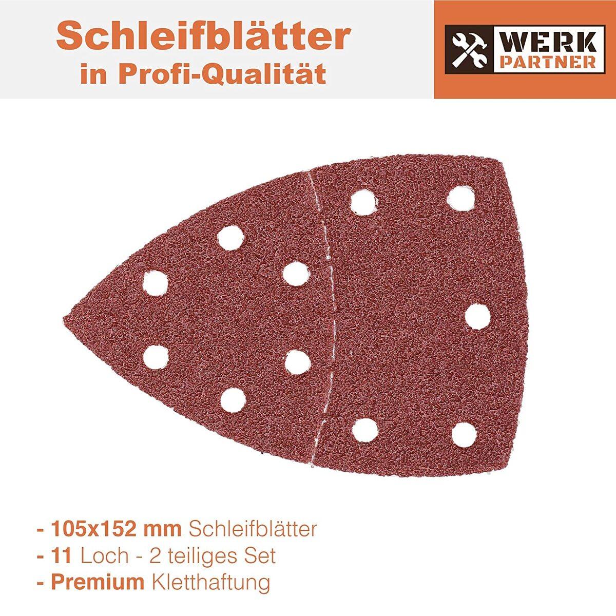 Bild 2 von Werk-Partner Dreieck Schleifscheiben 105x152mm - 60er Set Deltaschleifer Schleifpapier Klett für Holz, Kunststoff, Gips - je 10 x Körnung 40/60/80/120/180/240 für Deltaschleifer & Multischleifer