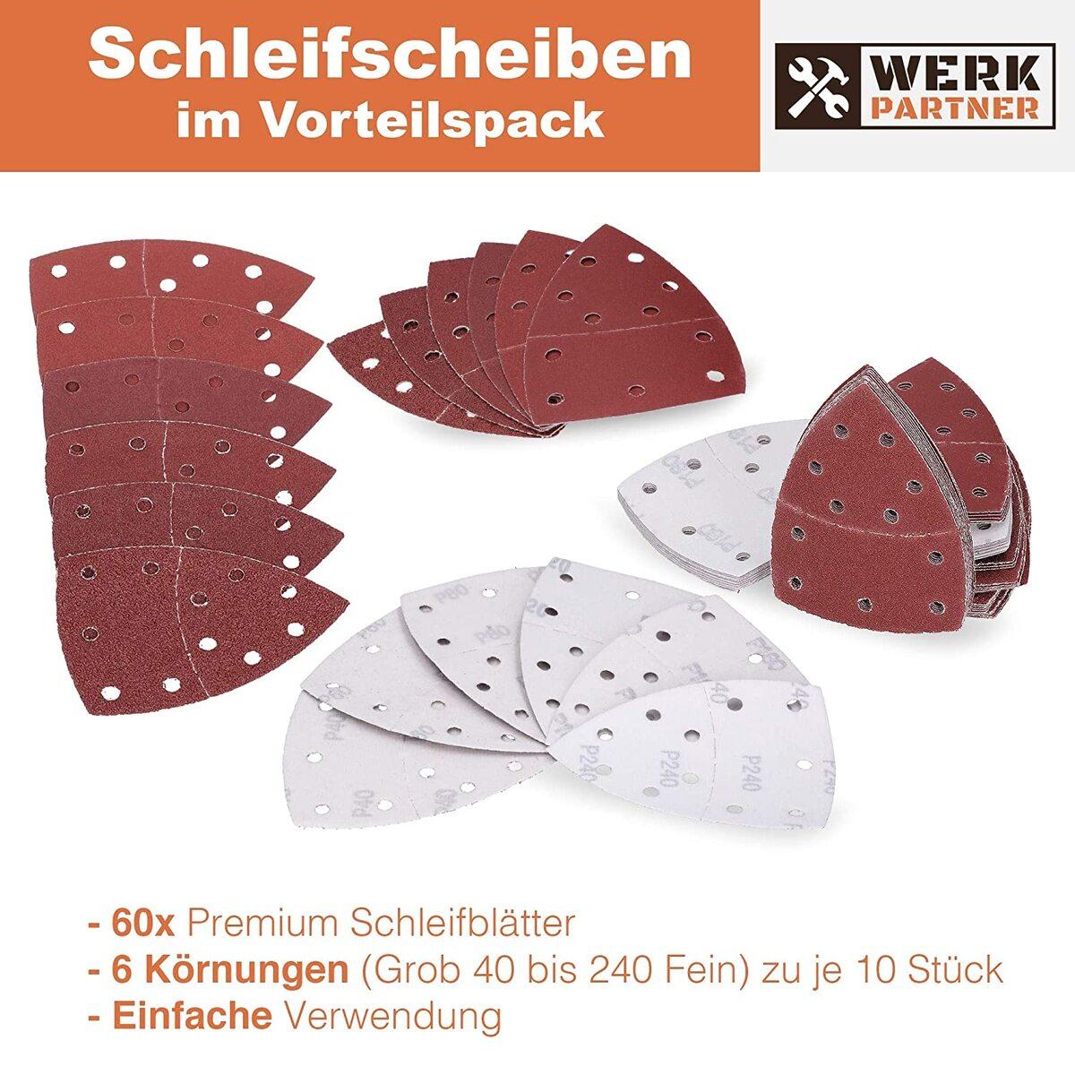 Bild 3 von Werk-Partner Dreieck Schleifscheiben 105x152mm - 60er Set Deltaschleifer Schleifpapier Klett für Holz, Kunststoff, Gips - je 10 x Körnung 40/60/80/120/180/240 für Deltaschleifer & Multischleifer