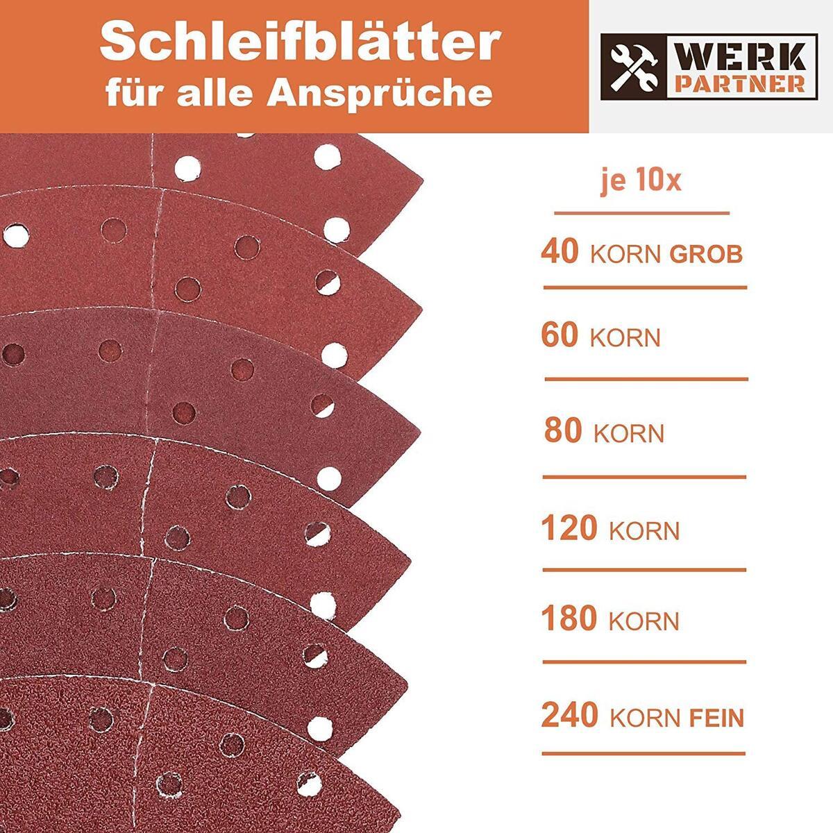Bild 4 von Werk-Partner Dreieck Schleifscheiben 105x152mm - 60er Set Deltaschleifer Schleifpapier Klett für Holz, Kunststoff, Gips - je 10 x Körnung 40/60/80/120/180/240 für Deltaschleifer & Multischleifer