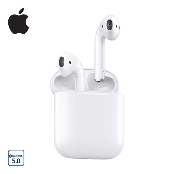 Bluetooth®-Kopfhörer AirPods 2 · bis zu 5 h Musikwiedergabe/3 h Sprechdauer, 24 h bei weitere Ladungen im Ladecase  *Bild: 40359293-1-1 *Logo: Icon_Bluetooth_5_0 *UVP: 179,-*