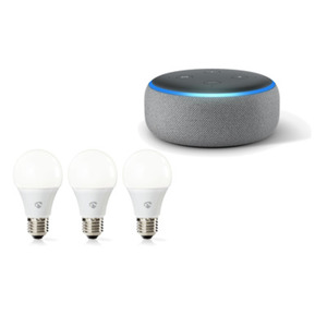 Amazon Echo Dot 3. Generation Smart-Speaker Hellgrau + Nedis WLAN Smart LED-Leuchtmittel Warmweiß, E27, 3er-Set