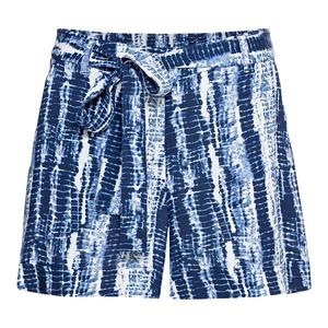 Damen-Shorts in Batik-Optik, mit Bindegürtel