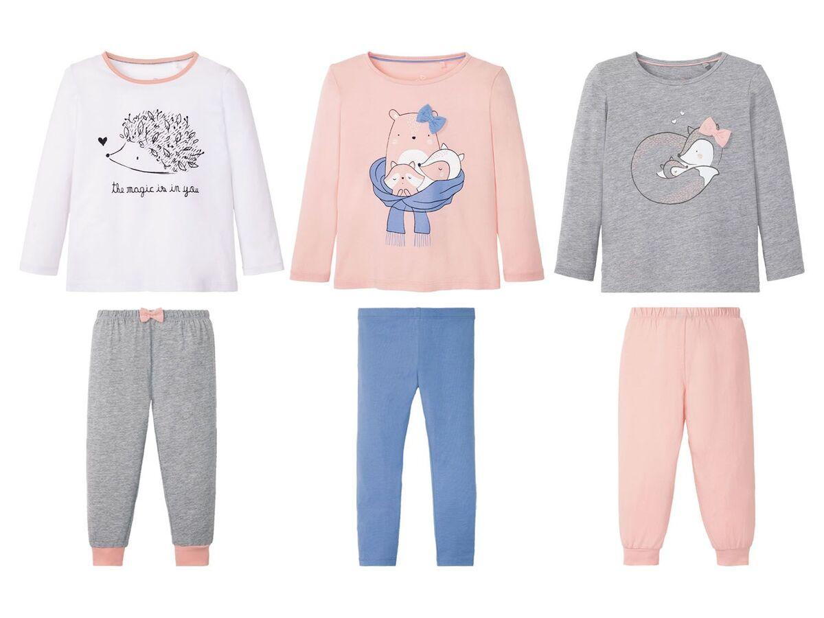 Bild 1 von LUPILU® Kleinkinder Pyjama Mädchen, mit Schleifenapplikation, mit Baumwolle
