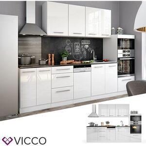Vicco Küche Fame-Line Küchenzeile Küchenblock Einbauküche 295cm Weiß Hochglanz