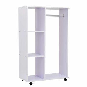 Homcom Mobiler Kleiderschrank mit integrierter Kleiderstange weiß