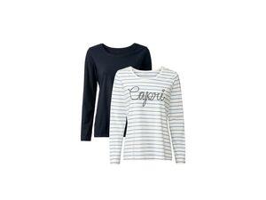 ESMARA® Langarmshirt Damen, 2 Stück, mit Stickerei, mit Baumwolle, mit Elasthan