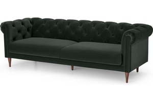 Barstow 3-Sitzer Sofa, Samt in Dunkelanthrazit - MADE.com