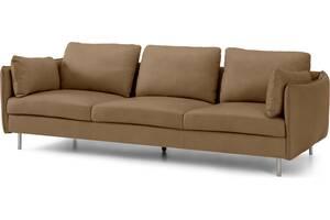 Vento 3-Sitzer Sofa, Leder in Blassbraun - MADE.com