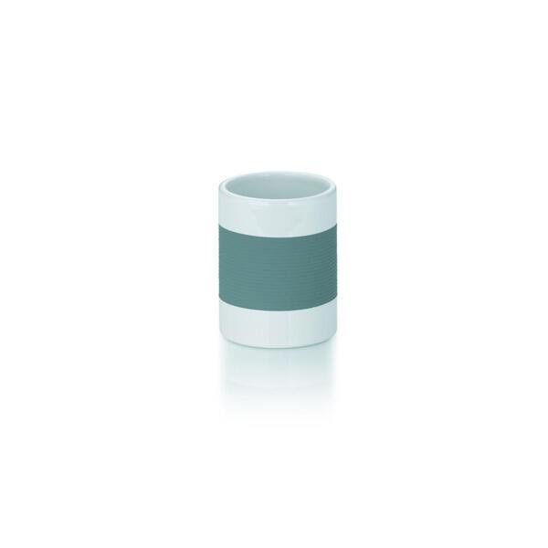 Kela Zahnputzbecher , 22436 , Grau, Weiß , Kunststoff, Keramik , 10 cm , 0043200144