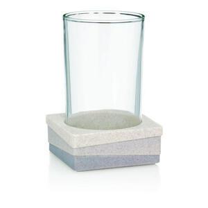 Kela Zahnputzbecher , 22801 , Hellblau, Beige , Kunststoff, Glas , Uni , 7.5x11.0x7.5 cm , 004320006003
