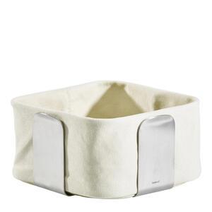 Blomus Brotkorb , 63442 , Edelstahlfarben , Metall, Textil , 19.5x10.5x19.5 cm , matt , 0041780237