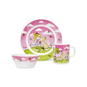 Ben'n'jen Kindergeschirrset porzellan 3-teilig , 3Pcs Kiddyset - Lilly DIE Fee , Multicolor , Keramik , glänzend , lebensmittelecht , 008090006401