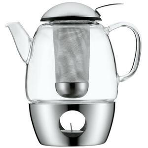 WMF Teekanne , 0631096030 , Edelstahlfarben , Metall, Glas , 1 L,1000 ml , Ausgießer, Siebeinsatz , 0037316958