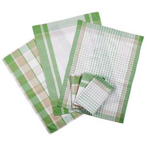 Boxxx Geschirrtuch-set 6-teilig , Montlucon , Grün , Textil , Karo , 50x70 cm , saugfähig, strapazierfähig , 006524000503