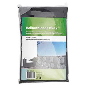 "Balkonblende ""Blüte"" grau 500 x 90 cm"