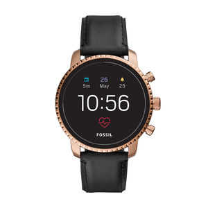 FOSSIL  FTW 4017 Explorist HR Smartwatch Edelstahl, Echtleder, 200 mm, Schwarz/Rosegold