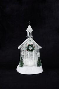 Markslöjd MIA Wasserlaterne Kirche Acryl klar weiß, H 11 cm x T 7,3 cm x B 11 cm