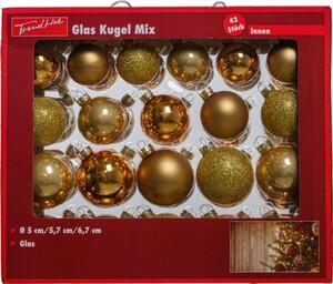 TrendLine Glaskugeln Mix, 42 Stück Ø 5 , 5,7, 6,7 cm, gold-mix