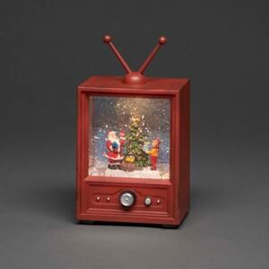 Konstsmide LED Fernseher mit Weihnachtsmann und Kind 12,5 x 9 x 21,5 cm