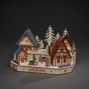 Konstsmide LED Holzsilhouette Dorf mit Schneemann 30 x 20 x 20 cm