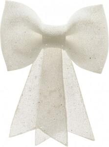 Kaemingk Kunst-Schleife Glitterhänger weiß, 1,5 x 22 x 30 cm