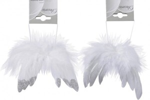 Kaemingk Federflügel am Draht ,  weiß, 1,14 x 16 cm