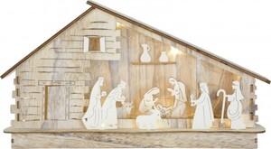 Riffelmacher Krippenstall mit Figuren beleuchtet LED 35 x 20 cm