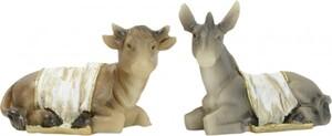 Riffelmacher Ochs + Esel mit Decke 7 cm, 2er Set