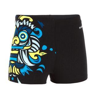 Badehose Boxer 500 Fitib Jungen schwarz Maskenmotiv gelb/blau