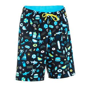 Schwimmshorts 100 Long Playa Jungen schwarz