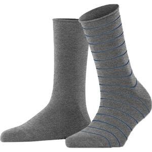 Falke Socken, 2er-Pack, uni, geringelt, für Damen