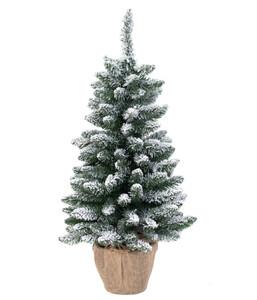 Künstlicher Weihnachtsbaum in Jute-Topf mit LED-Beleuchtung, 90 cm