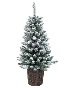 Künstlicher Weihnachtsbaum in Geflecht-Topf mit LED-Beleuchtung, 90 cm