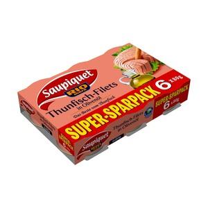 Saupiquet Thunfischfilets in Olivenöl jede 6x80-g-Packung = 480-g / Abtropfgewicht = 312-g / 336-g