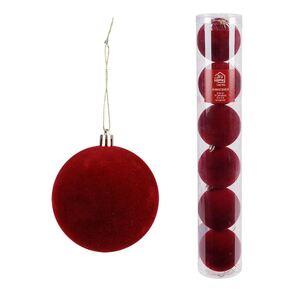Weihnachtskugeln mit Samtüberzug 8cm 6er-Set Bordeaux