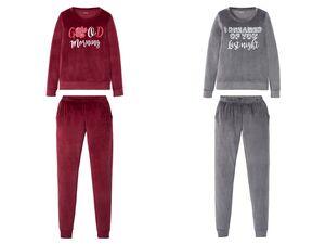 ESMARA® Pyjama Damen, aus Nicki-Qualität, mit Flockdruck