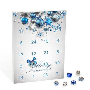 """Mode-Schmuck Adventskalender """"Merry Christmas"""" mit Halskette, Armband + 22 individuelle Perlen-Anhänger aus Glas und Metall, blau, das besondere Geschenk für Mädchen und Frauen"""