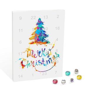 """Mode-Schmuck Adventskalender """"Merry Christmas"""" mit Halskette, Armband + 22 individuelle Perlen-Anhänger aus Glas und Metall, bunt, das besondere Geschenk für Mädchen und Frauen"""